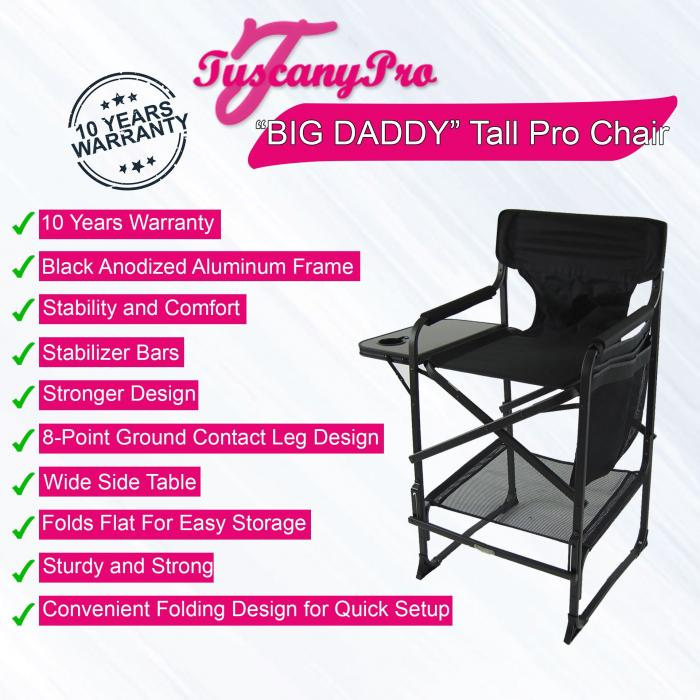 """Big Daddy"" Tall OVERSIZE HEAVY DUTY Director Chair One Side Tray-Adjustable Footrest Bar (High/Low)"