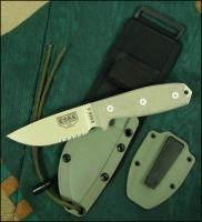 ESEE-3 Serrated Edge Fixed Blade, Coyote Brown Sheath, MOLLE Back, Boot Clip, Paracord