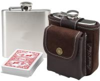 Picnic at Ascot Travel Hip Flask with Playing Cards and Case