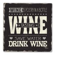 Counter Art Wine Tasting Single Tumbled Tile Coaster