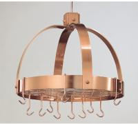 Old Dutch  36 1/4 x 9 x 11 1/2  Dome Decor Satin Copper Pot Rack with Grid and 16 Hooks