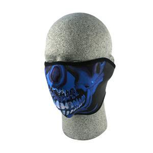 Cold Weather Headwear Neoprene 1/2 Face Mask, Blue Chrome Skull