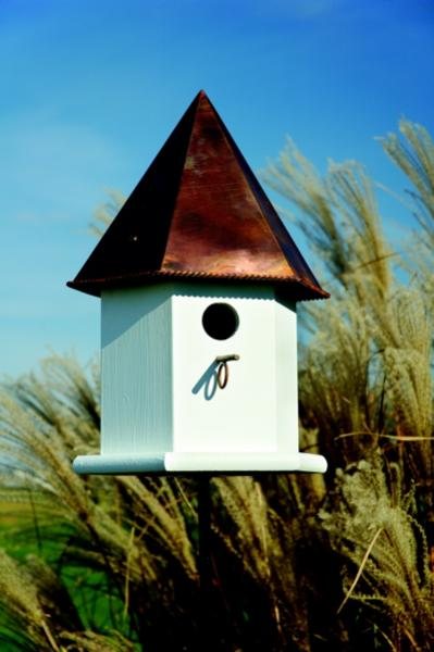 Heartwood Copper Songbird Deluxe Birdhouse, White with Brown Patina Roof