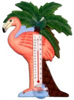 Songbird Essentials Flamingo & Palm Tree Small Window Thermometer