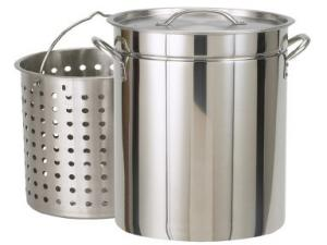 Bayou Classic 62 Quart Stainless Steel Steam/Boil/Fry Pot with Lid and Basket