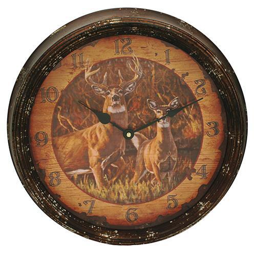 """Buck and Doe Metal Clock 15"""""""