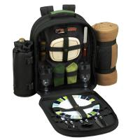 Picnic at Ascot Deluxe Equipped 2 Person Eco Picnic Backpack with Cooler, Insulated Wine Holder & Blanket - Forest Green