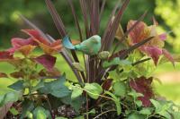 Ancient Graffiti Ceramic Bird Plant Pick, Teal