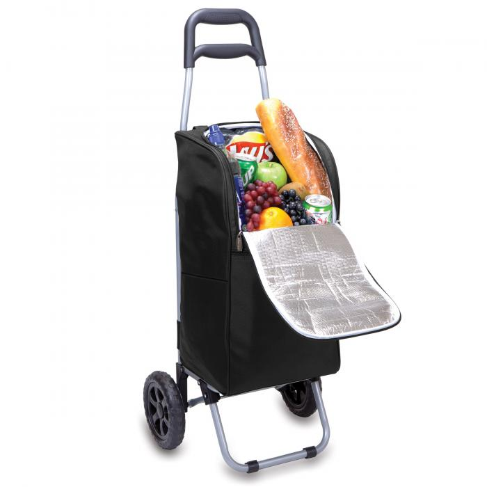 Picnic Time Cart Cooler on Wheels with Removeable Tote, Black