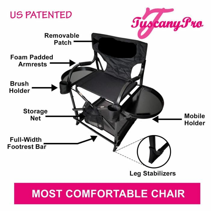 "TuscanyPro Portable Hairstylist Chair with 25"" Seat Height"