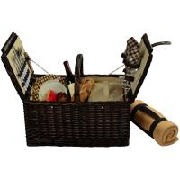 Picnic at Ascot Surrey Willow Picnic Basket with Service for 2 with Blanket - London Plaid