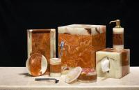 Imperial Bath 6 Piece Amber-Leaf Marble Bath Set