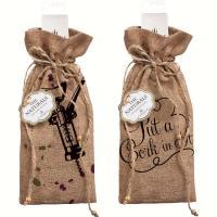 Evergreen Enterprises Corkscrew Burlap Wine Bag