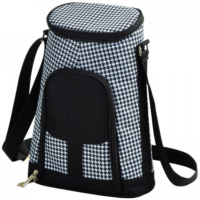 Picnic at Ascot Stylish 2 Bottle Insulated Wine Tote Bag with Cheese Board, Knife and Corkscrew - Houndstooth