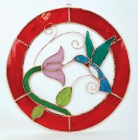 Gift Essentials Small Hummingbird Red Circle Frame Window Panel