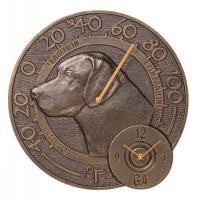 Whitehall Labrador Thermometer Clock - Antique Copper