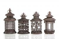 Zodax Set of Four Assorted Antique Rusted Pagoda Lanterns