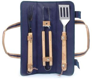Picnic & Beyond Twilight Skewer Wrap with three BBQ Tools