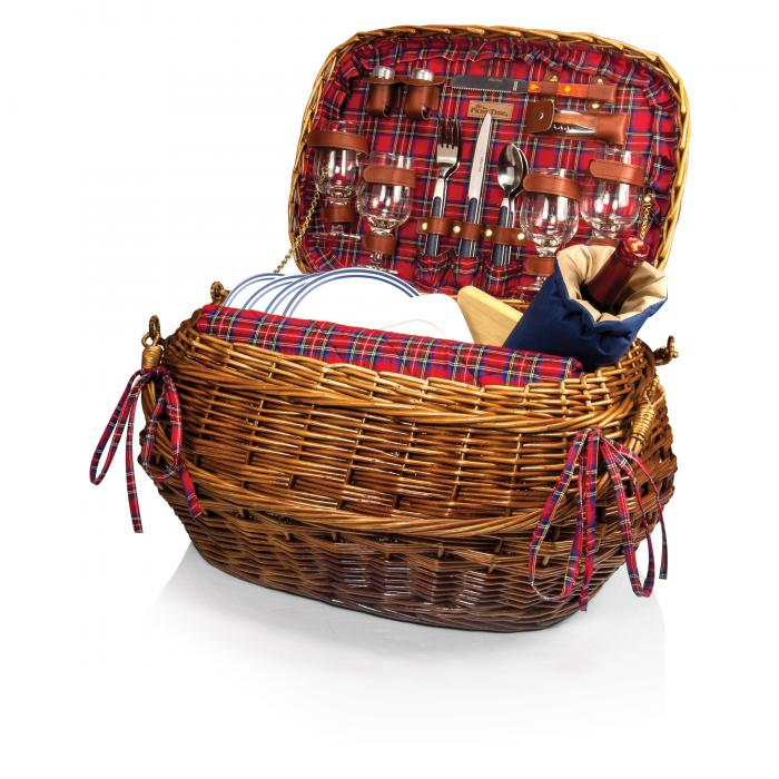 Picnic Time Highlander Deluxe Willow Picnic Basket  For 4