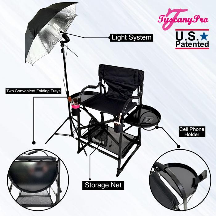 "TuscanyPro Mid Size Makeup / Hair Chair (25"" seat Height) w/ Lighting System-Black-Carry Strap Removable Brush Holder"