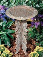 Whitehall Butterfly Birdbath & Pedestal - Copper Verdi