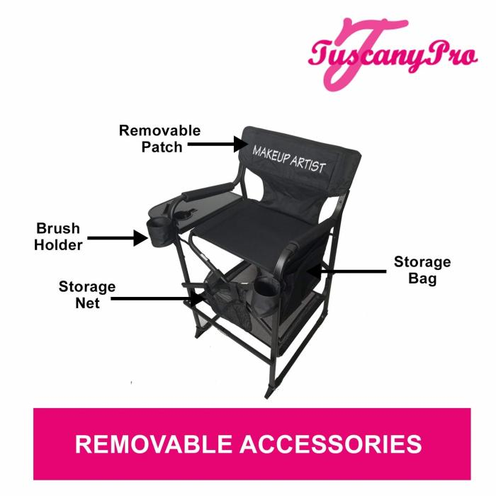 TuscanyPro Tall Director Makeup Chair with Umbrella Light System
