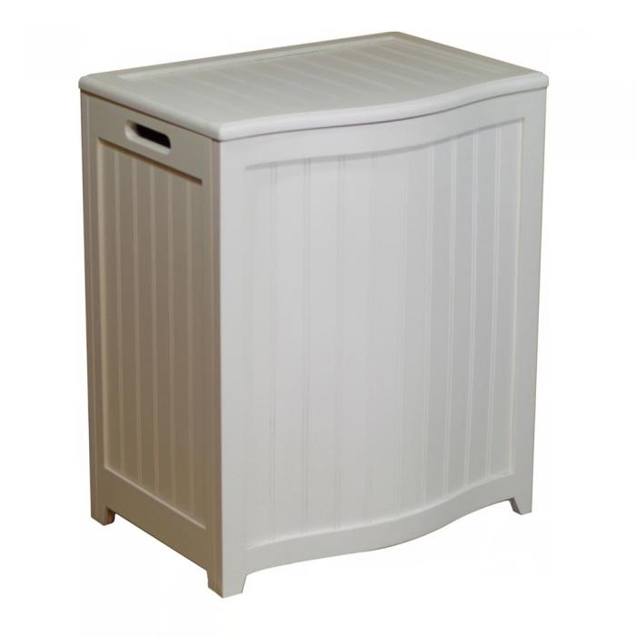 Ocean Star Design White Finished Bowed Front Laundry Wood Hamper with Interior Bag BHP0106W