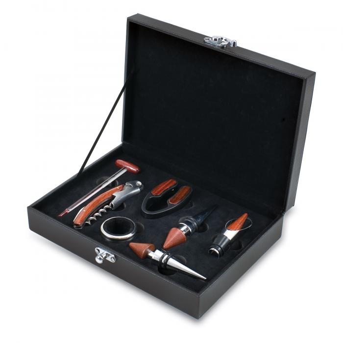 Picnic Time Grenache Black Seven-Piece Box Set of Wine Accessories