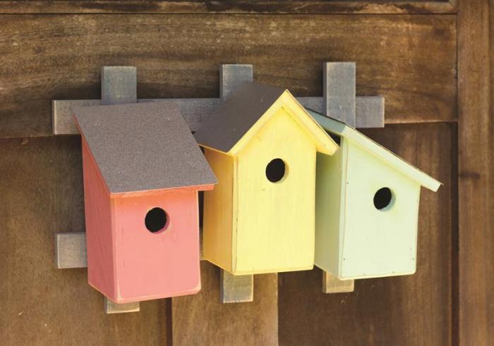 Heartwood Trellis Trio- Pastel Trio Bird Houses
