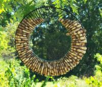 Songbird Essentials Whole Peanut Wreath Bird Feeder, Black