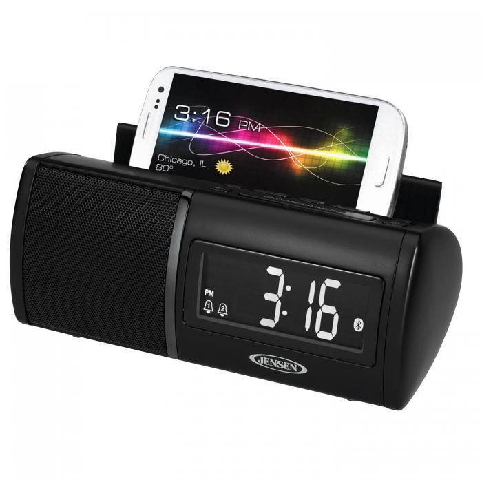 Jensen Black Clock Radio Bluetooth With USB