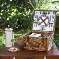 Picnic at Ascot Cheshire English-Style Willow Picnic Basket with Service for 2 and Blanket - London Plaid