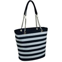 Picnic at Ascot Insulated Fashion Cooler Bag - 22 Can Tote  - Blue Stripe
