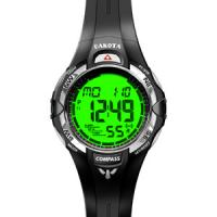 Dakota Oversized Digital Compass, Black PU Strap Watch