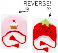 Luvali Convertibles Strawbery/Cupcake Reversible Kid's Winter Hat, Large