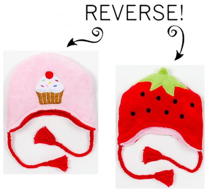 Luvali Convertibles Strawbery/Cupcake Reversible Kid's Winter Hat, Large