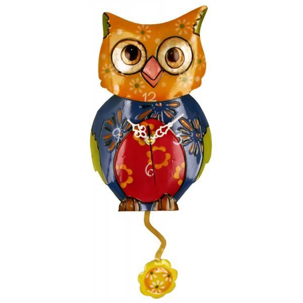 Metal Multicolor Owl Clock with Flower Pendulum