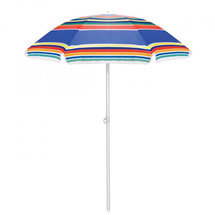 Picnic Time Multi-Colored Stripe Picnic Table Umbrella