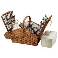Picnic at Ascot Huntsman English-Style Willow Picnic Basket with Service for 4 and Blanket - London Plaid