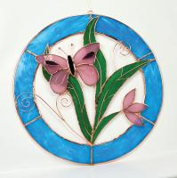 Gift Essentials Small Pink Butterfly Circle Window Panel