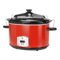 Kalorik Red 8 Qt Digital Slow Cooker with Locking Lid