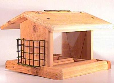 Songbird Cedar Plantation Bird Feeder with 2 Suet Baskets