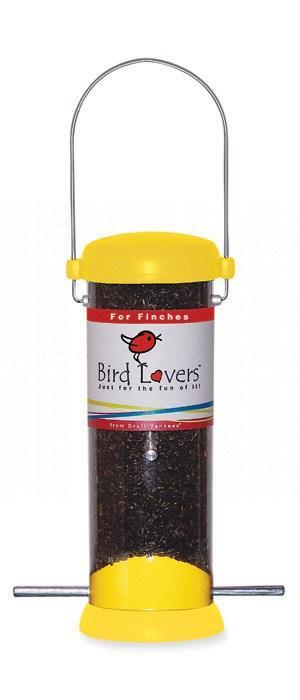 "Droll Yankees Bird Lovers 8"" Yellow Finch Tube Bird Feeder"