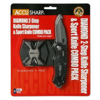 AccuSharp Diamond 2-Step Sharpener & Sport Knife Combo-Black