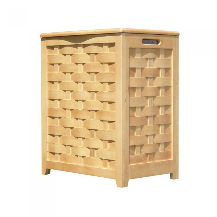 Ocean Star Design Natural Finished Rectangular Veneer Laundry Wood Hamper with Interior Bag RHV0103N