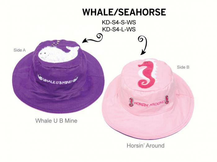 Luvali Convertibles Whale Seahorse Reversible Kids' Hat, Small