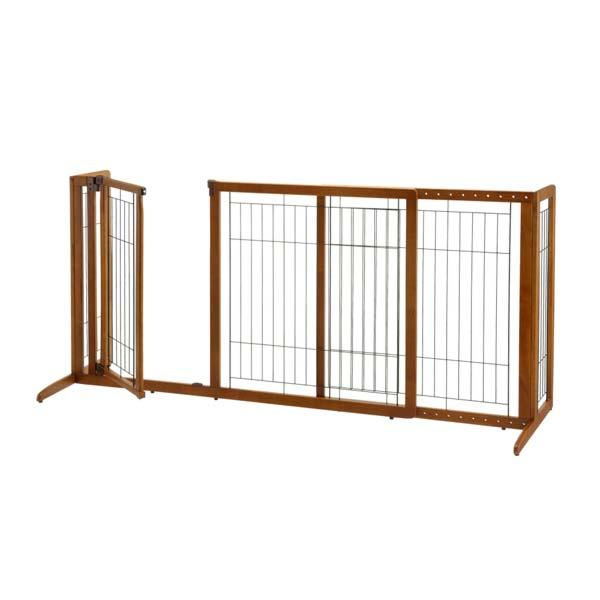 "Richell Deluxe Freestanding Pet Gate with Door Medium Brown 61.8 - 90.2"" x 24"" x 28"""
