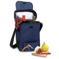 Picnic Time Duet 2 Bottle Wine & Cheese Tote w/ Accessories,Navy