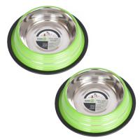2 Pack Color Splash Stripe Non-Skid Pet Bowl for Dog or Cat - Green - 32 oz - 4 cup