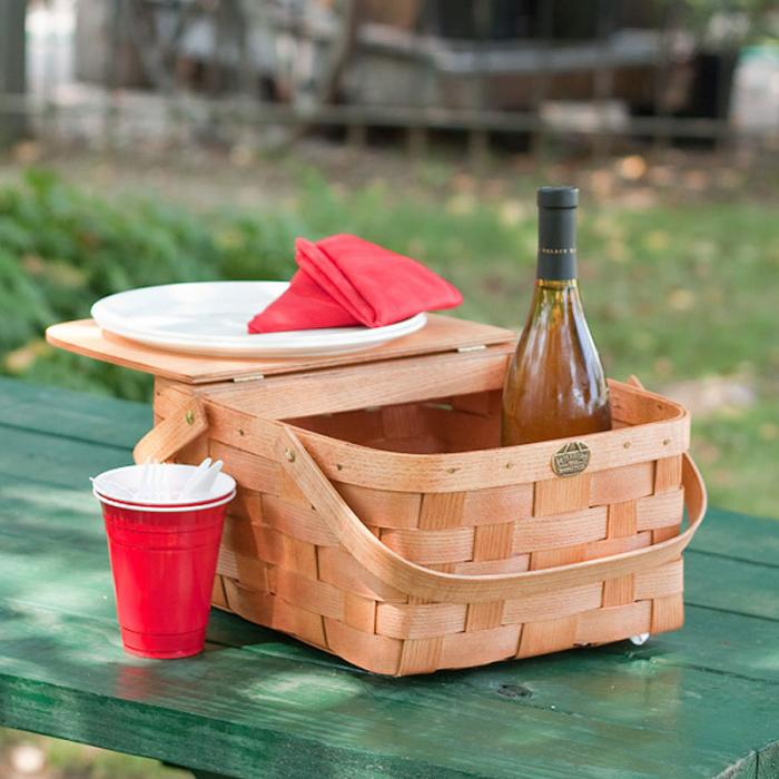 Peterboro Basket Co. Honey Color Intimate Picnic Basket for 2